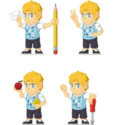 Blonde Rich Boy Customizable Mascot 14 vector image