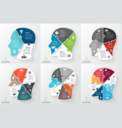 Brain puzzle infographic template for vector
