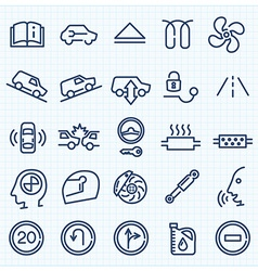 Car interface thin line icons set vector