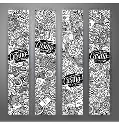 Cartoon line art doodles casino banners vector image vector image
