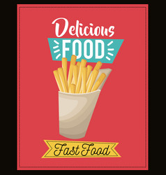 Delicious food french fries fast food snack lunch vector
