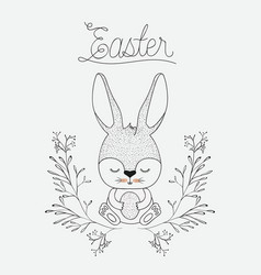 Easter poster with cute rabbit in floral arch in vector