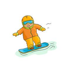 flat boy teen kid snowboarding vector image vector image