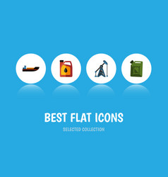 Flat icon fuel set of fuel canister rig jerrycan vector
