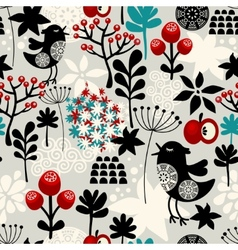 Floral seamless pattern with cute birds flowers vector image vector image