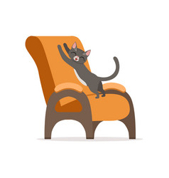 Funny red cat awaking and stretching its body on vector