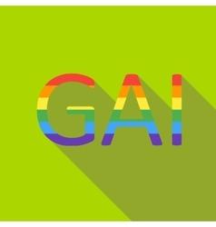 Gay rainbow word icon flat style vector image vector image