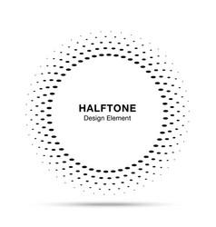 Halftone circle frame oval dots logo emblem vector