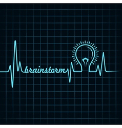 heartbeat make brainstorm word and light-bulb vector image
