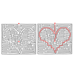 Maze labyrinth game heart vector