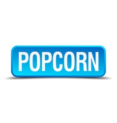 Popcorn blue 3d realistic square isolated button vector