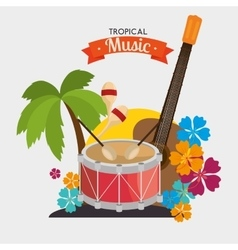 Poster tropical music dumb guitar maraca palm and vector