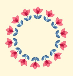 Scandinavian flowers - tulips round frame vector