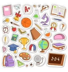 School icons stickers vector image vector image