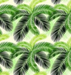 Seamless color palm leaves pattern vector image