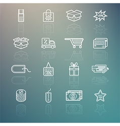 Shopping icons set on Retina background vector image vector image
