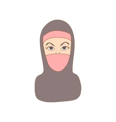 Woman dressed with black headscarf icon vector image