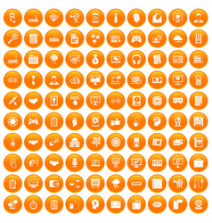 100 web development icons set orange vector