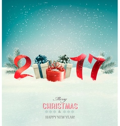 New year background with a 2017 and gift boxes vector