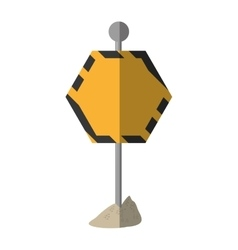 Cartoon sign road hexagon caution empty vector