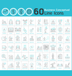 Set of business conceptual thin line icons vector