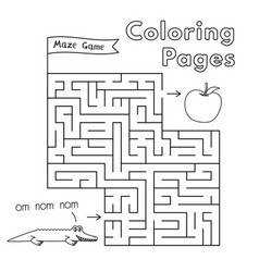 Cartoon alligator maze game vector