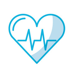 shadow heart beat pulse vector image
