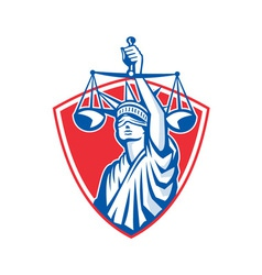 Statue of liberty raising justice scales retro vector