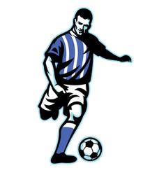 soccer player kick the ball vector image