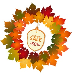 Autumn label and leaf border vector
