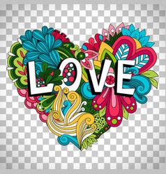 Doodle floral heart on transparent background vector