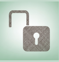 Unlock sign   brown flax icon vector
