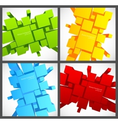 Set of backgrounds with 3d squares vector