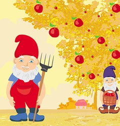 Two dwarfs and apple tree in autumn vector