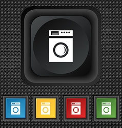 Washing machine icon sign symbol squared colourful vector