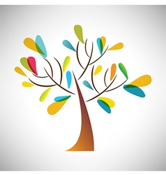 Abstract tree with colorful leaf vector