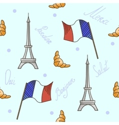 French symbols seamless pattern blue color vector