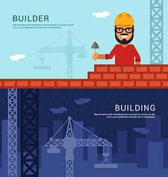 Builder and building in flat design style for web vector