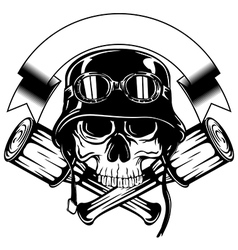 Skull in helmet with goggles and crossed grenade vector