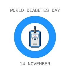 World diabetes day glucometer test strip flat vector