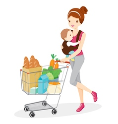 Mother carries baby and pushing shopping cart vector