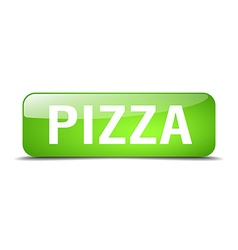 Pizza green square 3d realistic isolated web vector