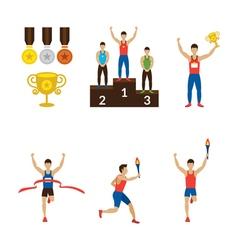 Sports Athletes Winner Torch Runner Champion vector image