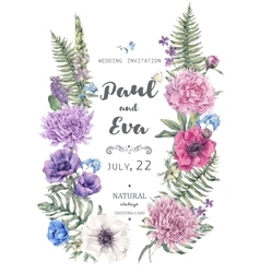 Wedding invitation with wreath of anemones vector