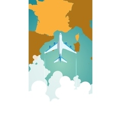 Airplane flying through clouds above the map of vector image