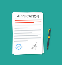 application or document with a seal and a vector image