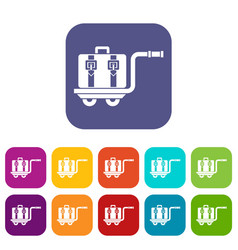 Baggage cart icons set vector