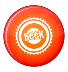 Beer bottle cap icon flat style vector image