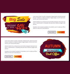 Big sale discount offer only today -20 off autumn vector