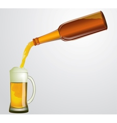 Bottle with beer and mug vector